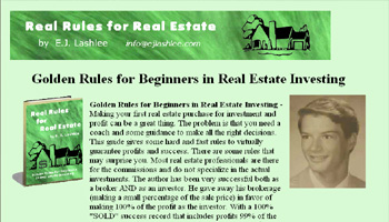 Real Rules For Real Estate by E. J. Lashlee